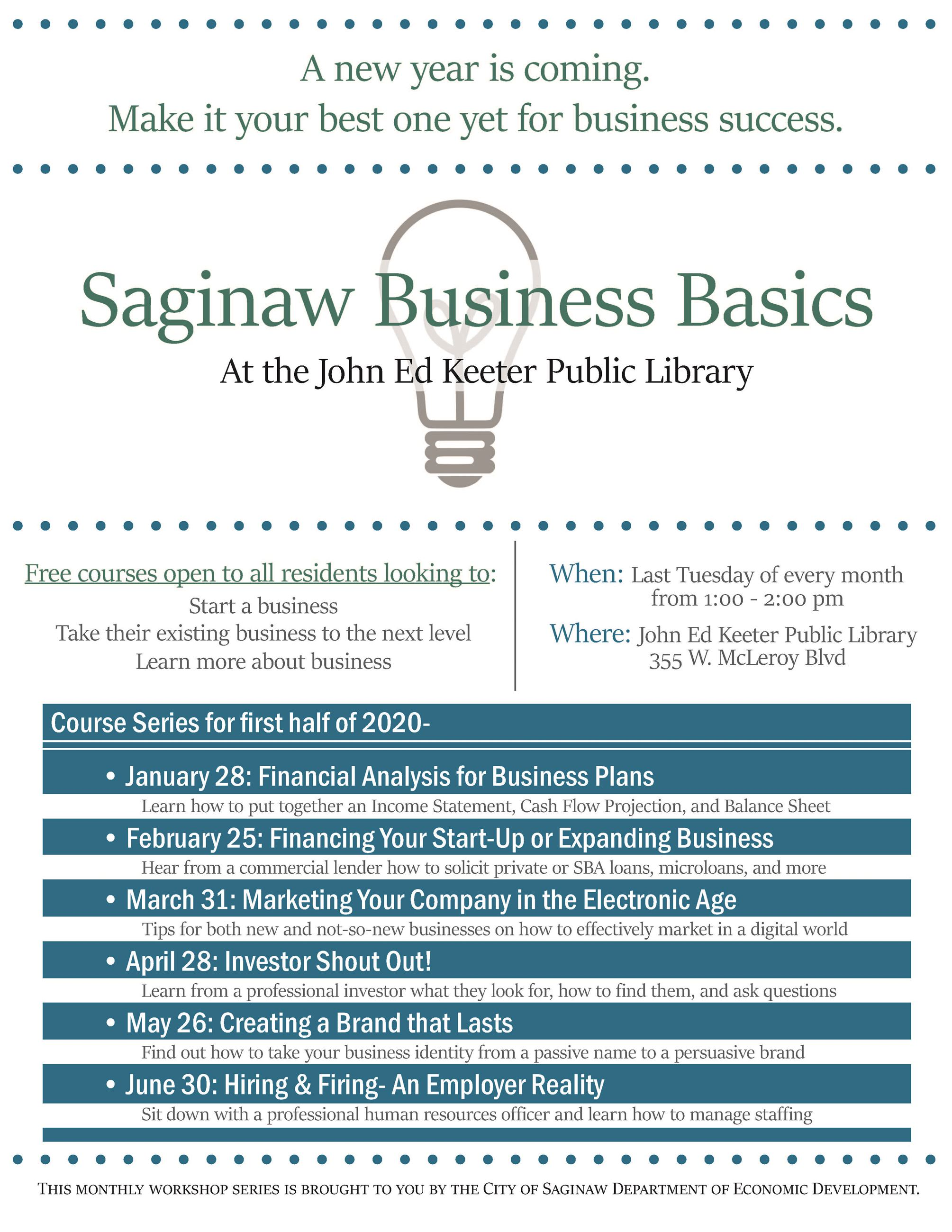 Saginaw Business Basics First Half of 2020