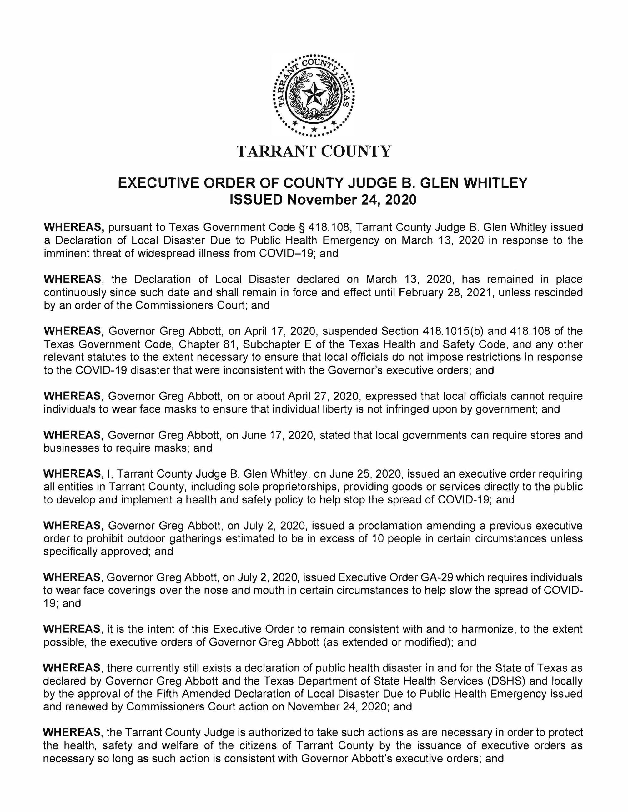 11_24_2020 Tarrant County Executive Order_Page_1