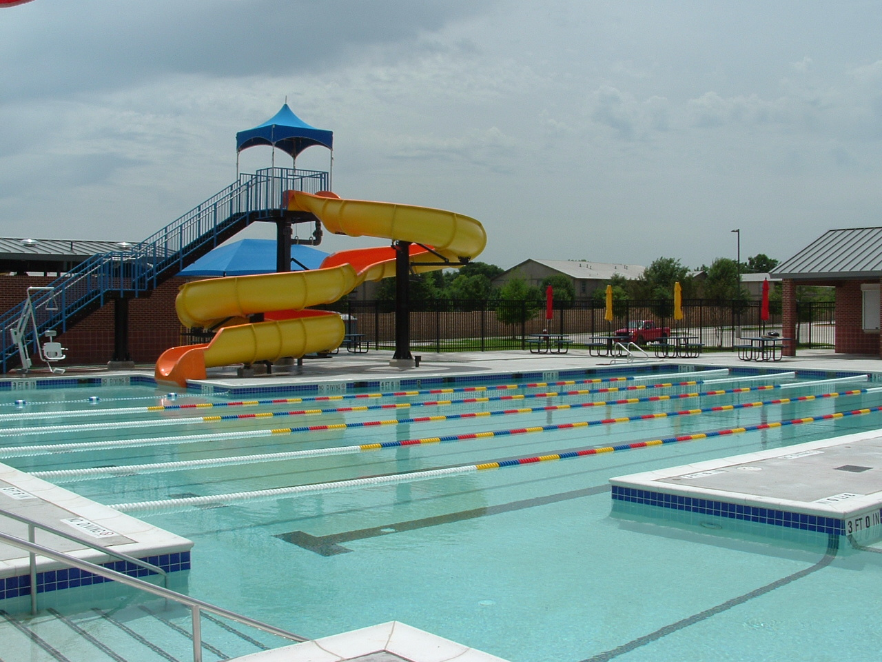 Lap pool and large water slide
