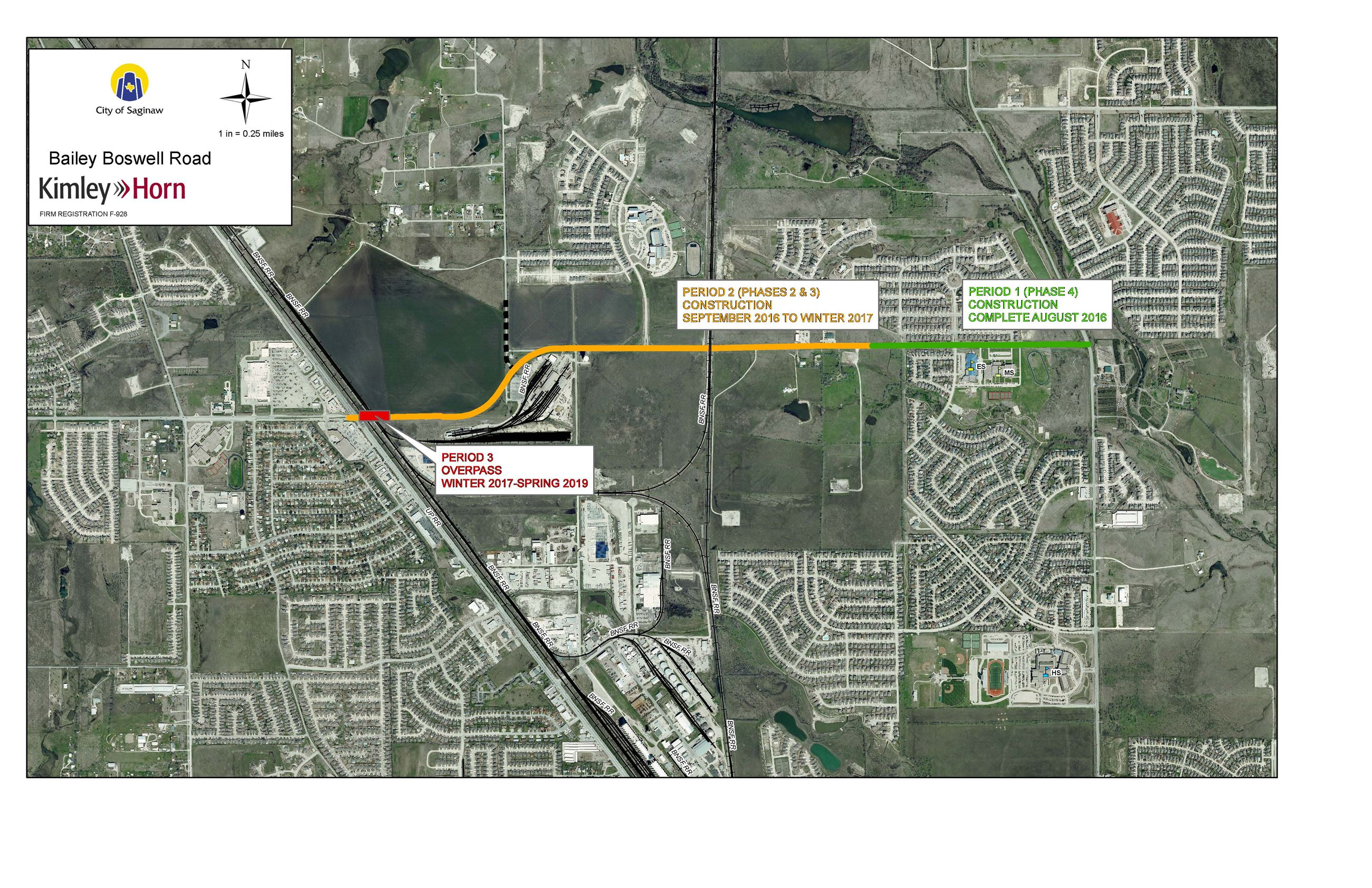 Map of Bailey Boswell Road and Bridge Project