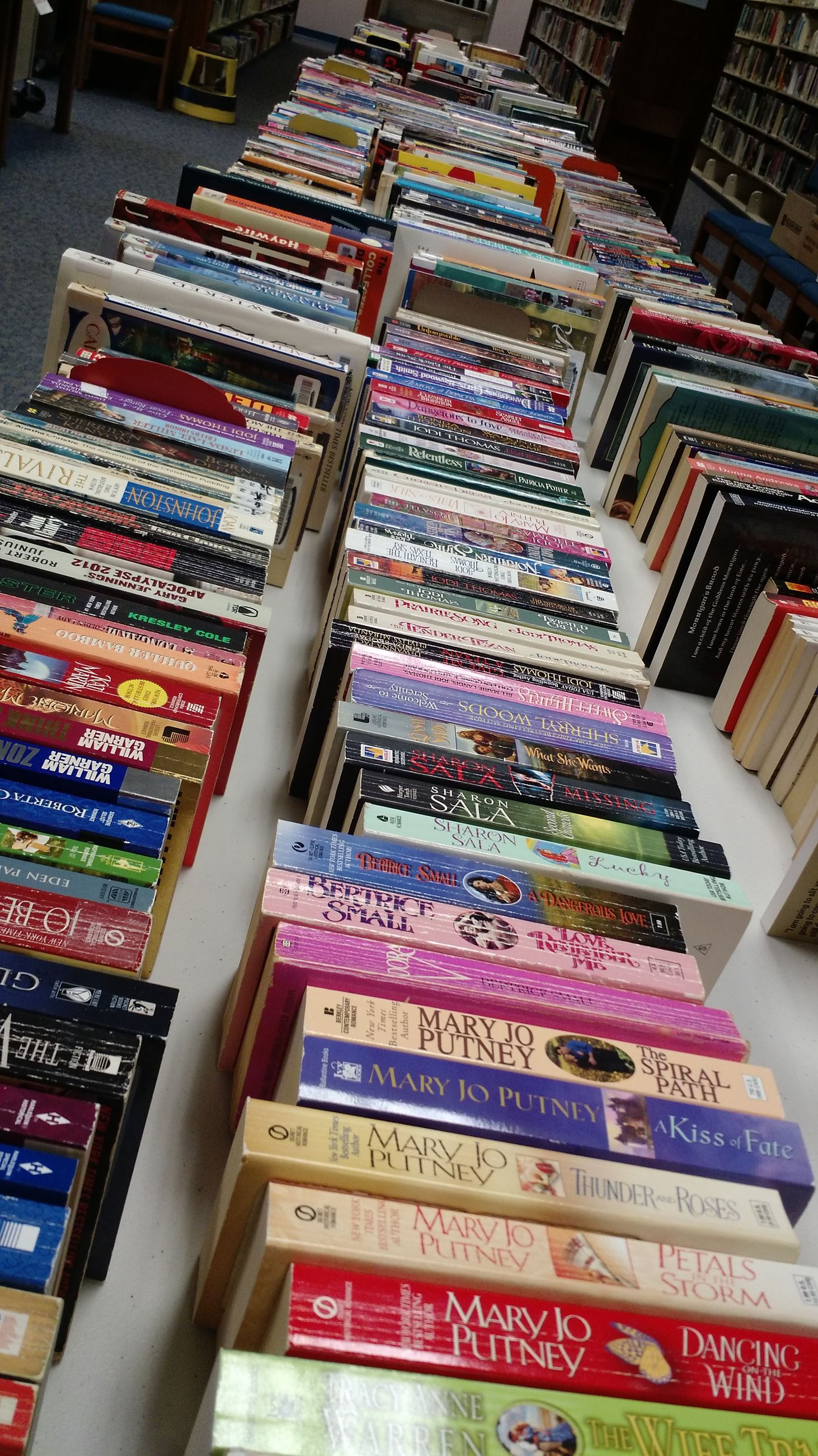 Row of books on a table