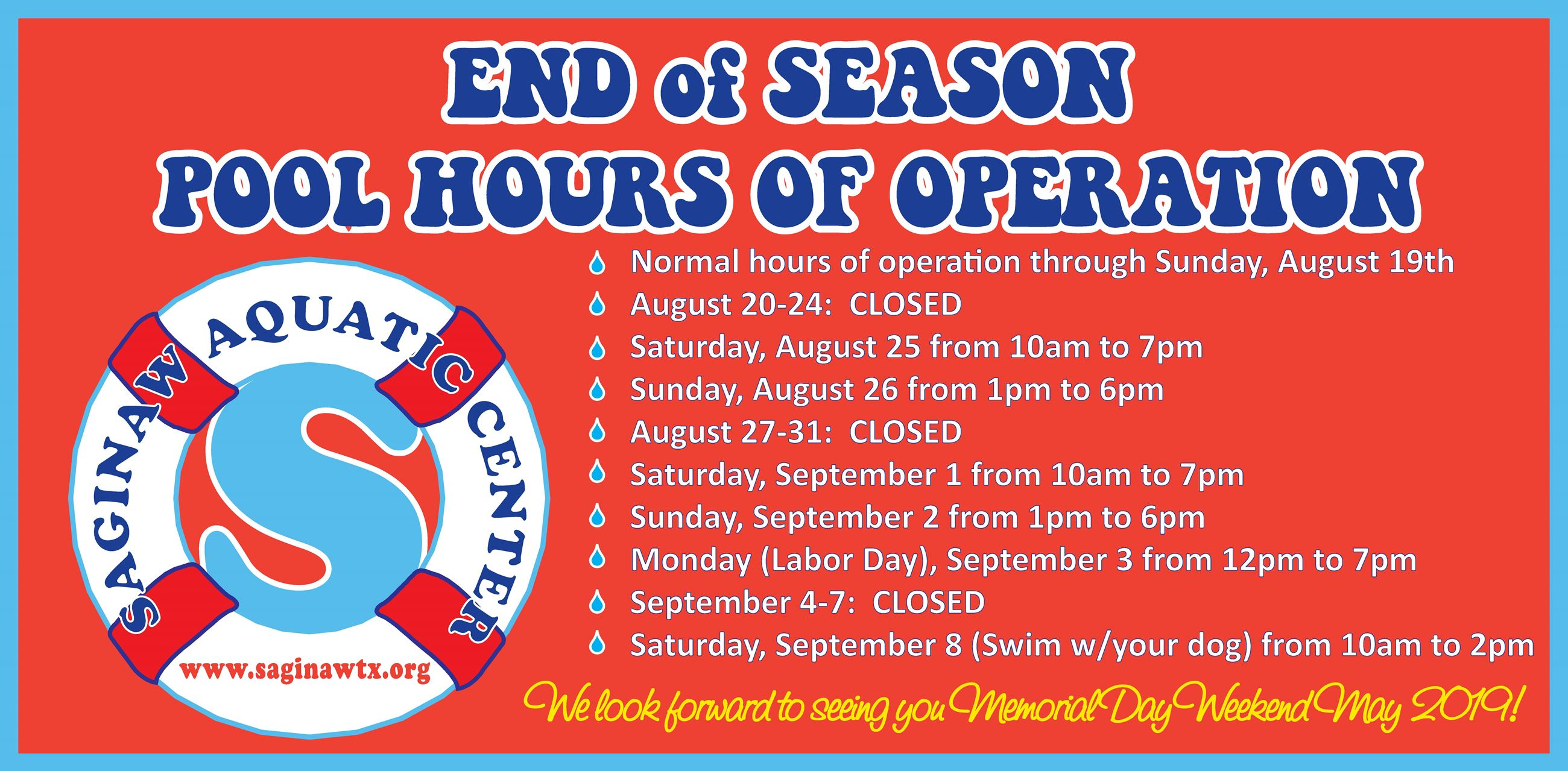 End of Season Hours of Operation